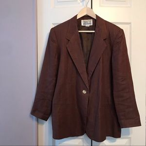 Vintage Linen Blazer Jacket Brown